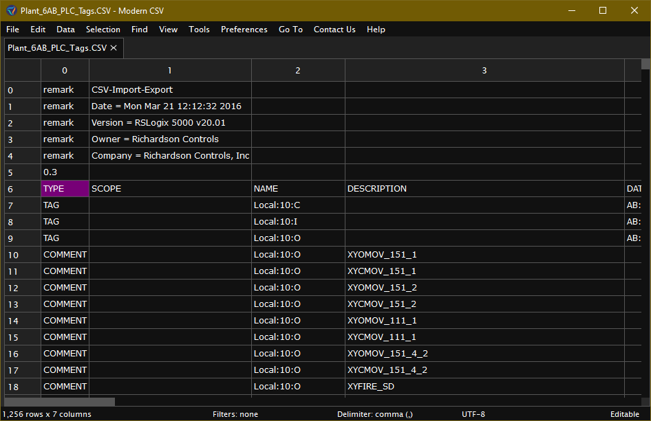 Exported PLC CSV file