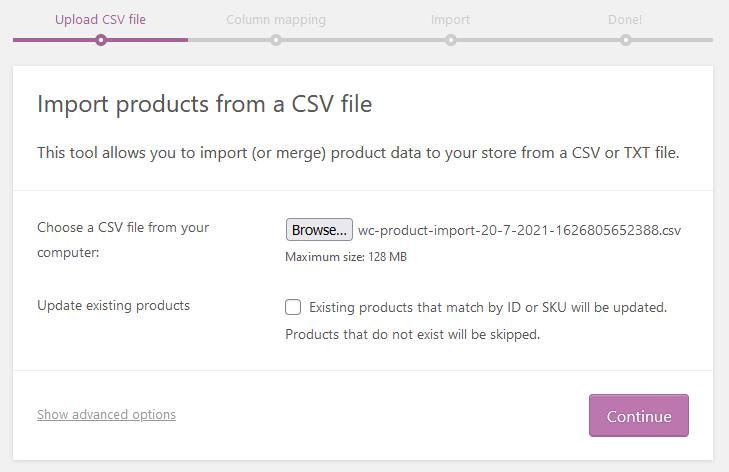 Import the CSV back into WooCommerce.