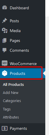 Click Products in WordPress's sidebar.